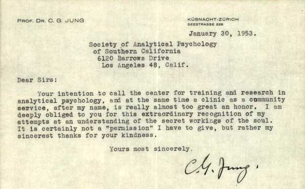 C. G. Jung's letter on the occasion of the establishment of Institute in Los Angeles in 1953.